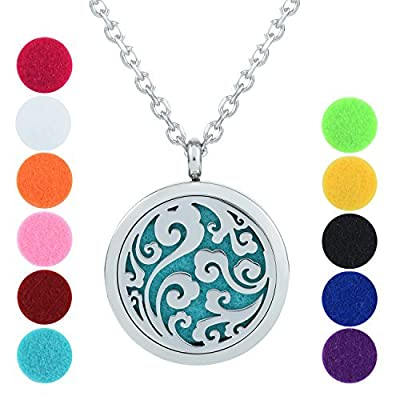 GerTong Hypo-Allergenic Stainless Steel Aroma Essential Oil Diffuser Necklace with 11 Color Refill Pads