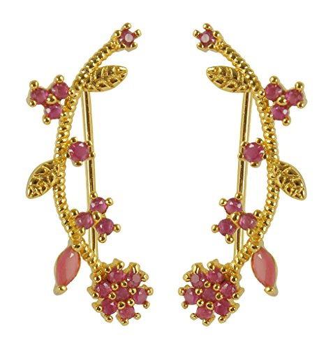 MuchMore Elegant Gold Plated American Diamond Fancy Party Wear Ear Cuffs Earrings