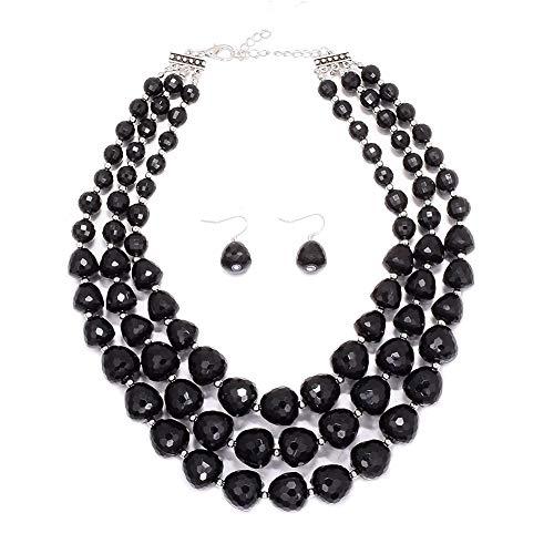 MJULY Women 3 Layers Bib Jewelry Acrylic Beads Statement Strand Chunky Necklace and Earring Set (Black) ()
