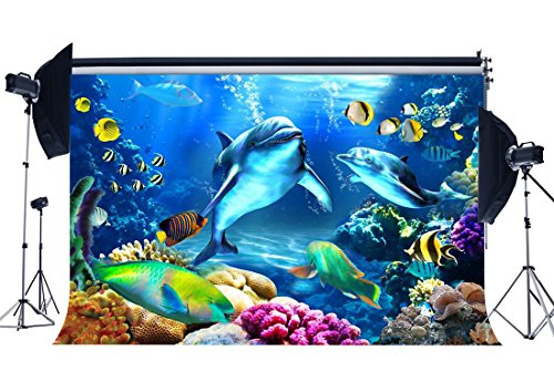 Gladbuy Vinyl 7X5FT Underwater World Backdrop Under Sea Fish Dolphin Bubble Green Grass Fancy Coral Aquarium 3D Backdrops Ocean Sailing Photography Background for Kids Adults Photo Studio Props KX149