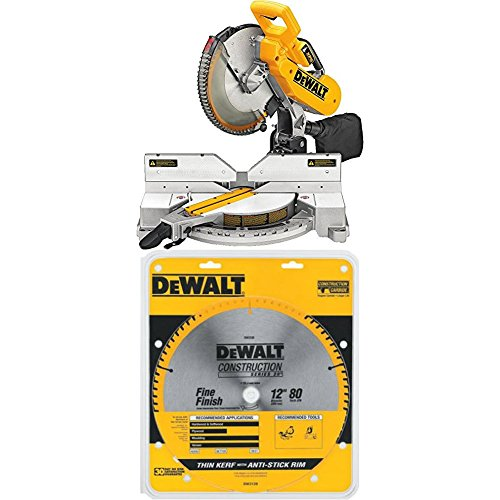 DEWALT DW716XPS Compound Miter Saw with XPS, 12-Inch and Saw Blade with 1-Inch Arbor