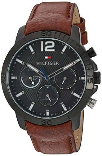 Tommy Hilfiger Men's Quartz Metal and Leather Automatic Watch, Color:Brown (Model: 1791269)