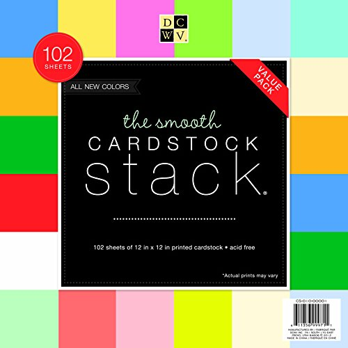 (DCWV Cardstock Stack, Value Pack, Assorted Solid Colors, Smooth, 102 Sheets (6 each), 12 x 12 inches)