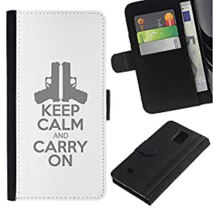 A-type (Handgun Pistol Poster Stylish White) Colorida Impresión Funda Cuero Monedero Caja Bolsa Cubierta Caja Piel Card Slots Para Samsung Galaxy Note 4 IV