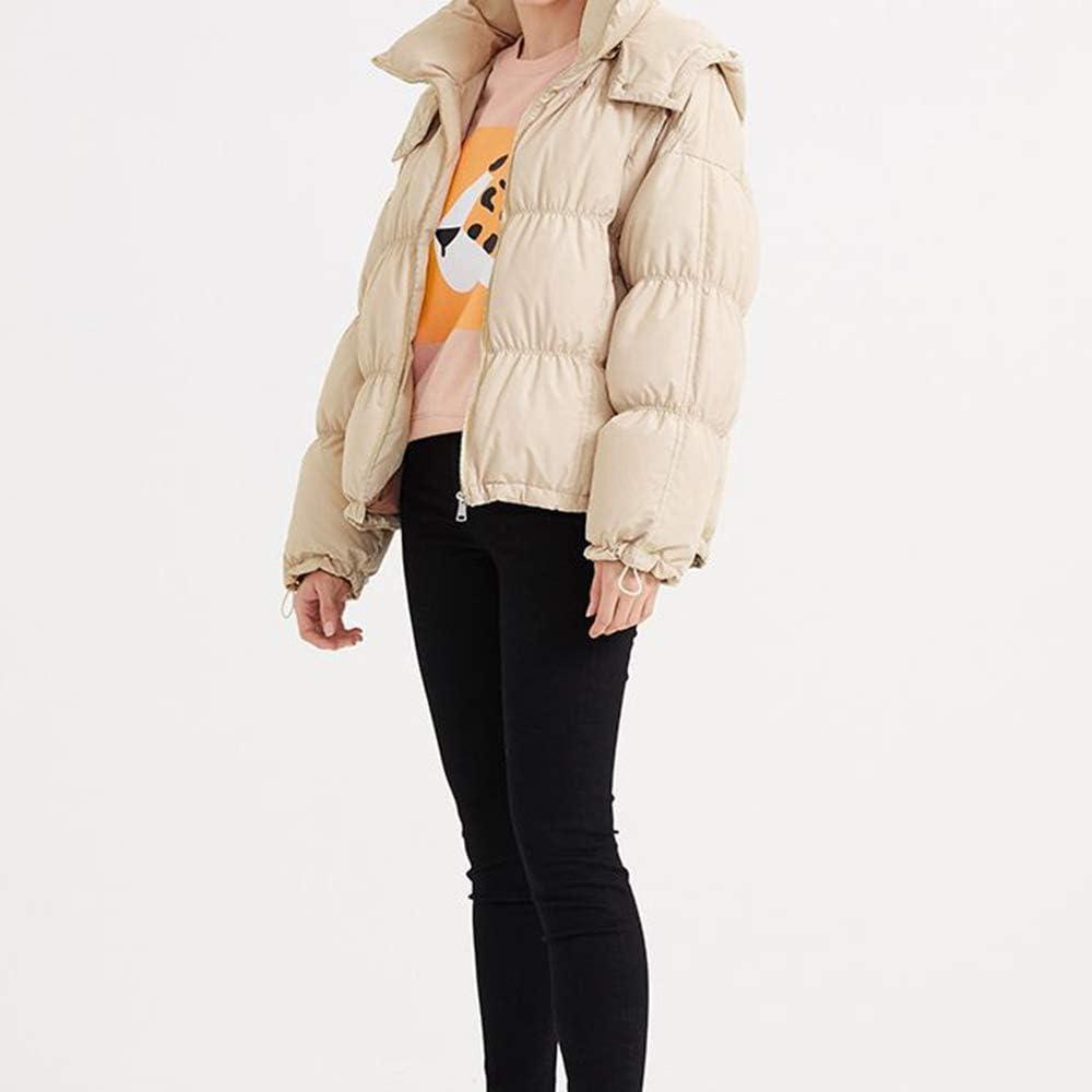 QWY Donne Warm Cappuccio Piumino Fermo Collare Design Inverno a Maniche Lunghe Green