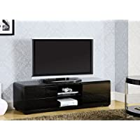1PerfectChoice Cerro Modern Black High Gloss TV Console Stand Full Extension Drawers Storage