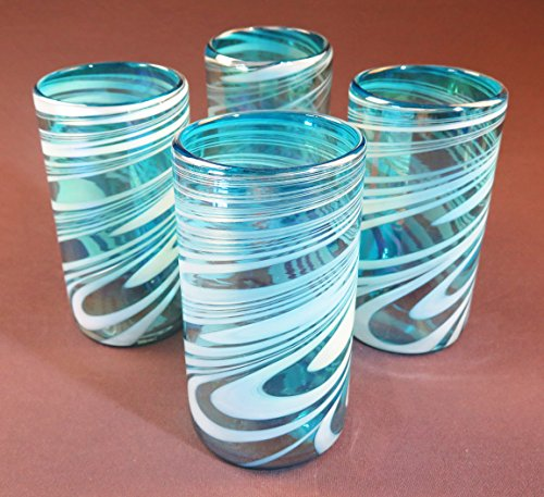 lown, Turquoise & White Iridescent Swirl, 18 oz Set of 4 (Turquoise Recycled Glass)