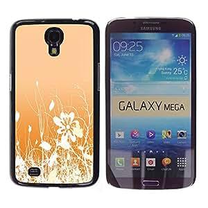 Qstar Arte & diseño plástico duro Fundas Cover Cubre Hard Case Cover para Samsung Galaxy Mega 6.3 / I9200 / SGH-i527 ( Floral Pattern Orange White Flowers Field)