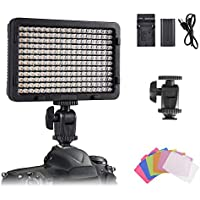 On-Camera Video Light Panel, Tolifo Ultra Bright 216 LED Conference Light Kit with Rechargeable Battery, 6 Colour…