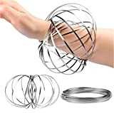 Hbitsae 3D Magic Flow Ring, Kinetic Ring, Spiral Spring Toy ,for Adult and Child Science Education, Interaction, Stress-Relieving New Toys Creative Gifts(Silver)