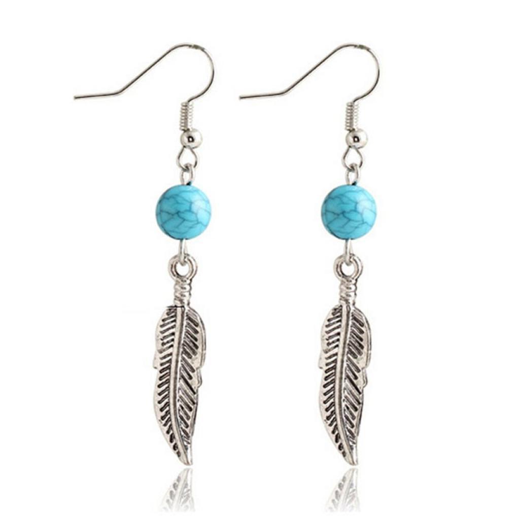 Toamen Bijoux Eardrop, Boucles D'Oreilles Feuille Boucles D'Oreilles Turquoise Circular Leaves 1 Paire