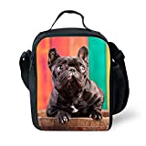 Showudesigns Tote Small Lunch Bag Primary Student Lunchbox with Holder French Bulldog
