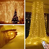 TOFU Curtain Lights with 8 Modes Remote 300LED 9.8ft×9.8ft Bed Canopy Lights Window Decoration, Christmas, Wedding, Anniversary, Home, Patio, Waterproof Indoor Outdoor, UL Certified