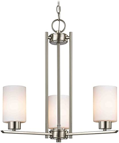 Chandelier with White Glass in Satin Nickel – 3-Lights