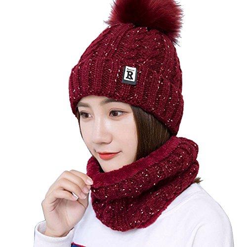 3d3750d43bf UZZO Winter Warm Beanie Knitting Hat Scarf Neck Warmer Set Women Men ...