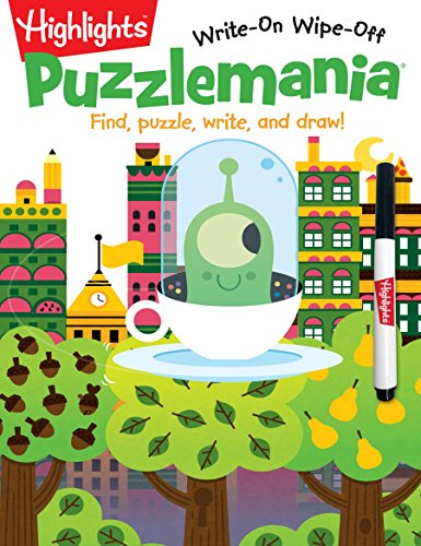 Puzzlemania: Find, puzzle, write, and draw! (Highlights Write-On Wipe-Off Activity Books)