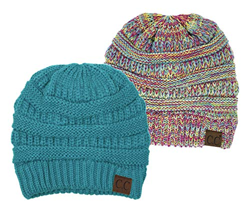 H-6020a-2-46-816.41 Beanie Bundle - Teal & Rainbow #11 (2 -