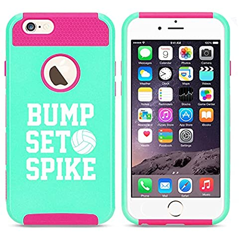 Apple iPhone 5 5s Shockproof Impact Hard Case Cover Bump Set Spike Volleyball (Light Blue-Hot Pink) (Iphone 5 Cases Spike)