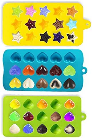 Joyoldelf Candy Molds & Ice Cube Trays - Hearts, Stars & Shells - Silicone Chocolate Mold - Fun, Toy Kids Set - Use for Cakes, Chocolate, Ice cream, Tarts, Muffins, Candles, Soaps, Jello, Mousses