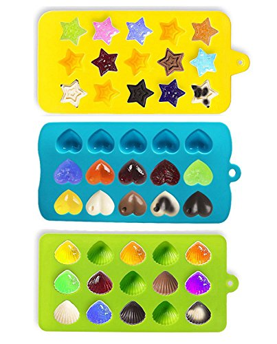 Joyoldelf Candy Molds & Ice Cube Trays - Hearts, Stars & Shells - Silicone Chocolate Mold - Fun, Toy Kids Set - Use for Cakes, Chocolate, Ice cream, Tarts, Muffins, Candles, Soaps, Jello, Mousses (Small Star Ice Cube Tray compare prices)