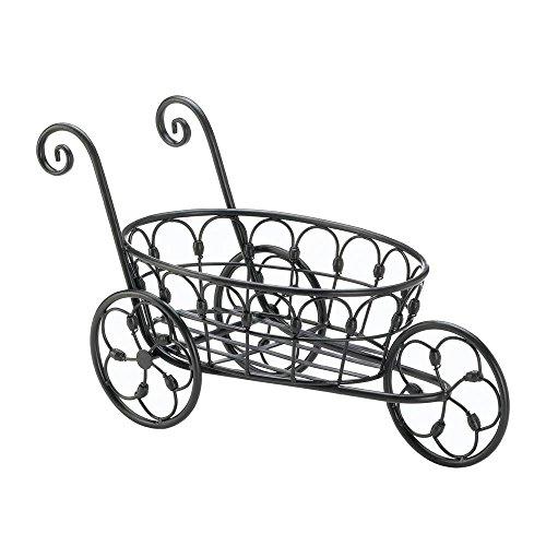 (Garden Decor 10017898 Planters Wrought Wheel Barrel Plant Stand Holder Black Iron Flower CART)