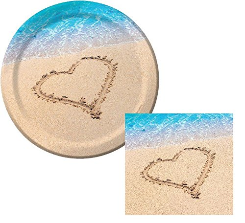 Beach Love Wedding Dessert Napkins & Plates Party Kit for 8 by Creative Converting