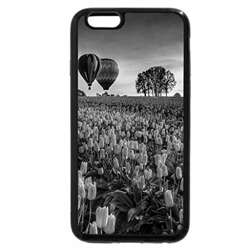 iPhone 6S Plus Case, iPhone 6 Plus Case (Black & White) - Air baloons over the tulips field