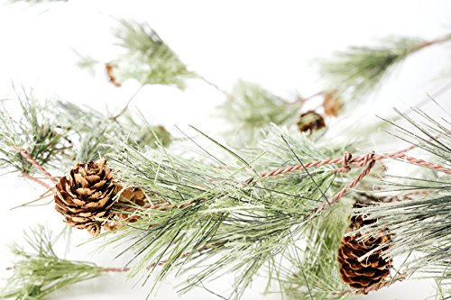CraftMore Smokey Pine Garland - 6 Feet - Great Indoor and Outdoor Christmas Decor - Bring The Warmth of The Holidays to Your Home This -