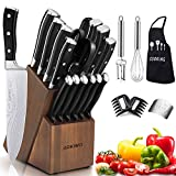 Knife Set, 21-Piece Kitchen Knife Set with Block Wooden, Germany High Carbon Stainless Steel Professional Chef Knife Block Set, Ultra Sharp, Forged, Full-Tang