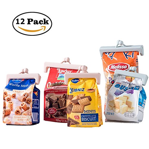 Sealing Bag Clips Air Tight Food Storage Sealer Fresh Keeping Clamp Sticks Random Colour 12 Pcs with Different Sizes