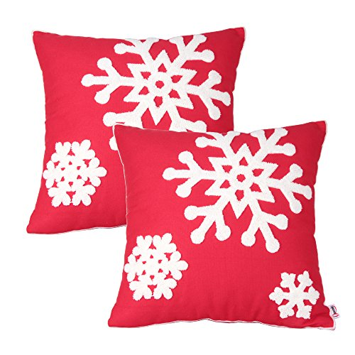Queenie® - 2 Pcs Christmas Series Embroidered Cotton Linen Decorative Pillowcase Cushion Cover for Sofa Throw Pillow Case (2, Snow Flakes Red) -