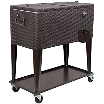 Clevr 80 Qt Outdoor Patio Cooler Rolling Cooler Ice Chest, Dark Brown  Wicker Faux Rattan, Portable Patio Party Bar Cold Drink Beverage Chest,  Outdoor Cooler ...