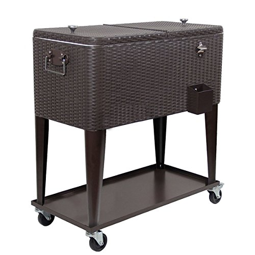 Clevr 80 Qt Outdoor Patio Cooler Rolling Cooler Ice Chest, Dark Brown Wicker Faux Rattan, Portable Patio Party Bar Cold Drink Beverage Chest, Outdoor Cooler Cart on Wheels with Shelf (Portable Bar Cart Outdoor Patio Furniture)