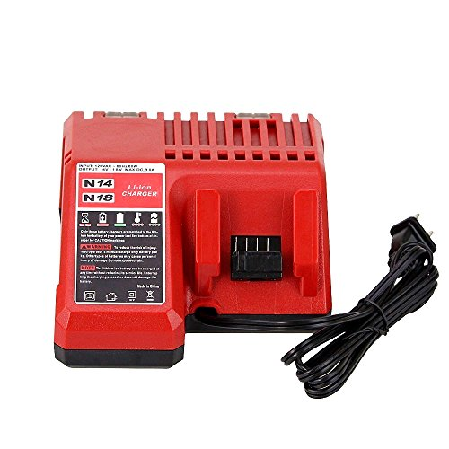 ENERMALL M18 Battery Charger for Milwaukee 14.4V to 18V XC RED Lithium ion 48-11-1852 48-11-1850 48-11-1828 48-11-1815 Cordless Tool Batteries by ENERMALL