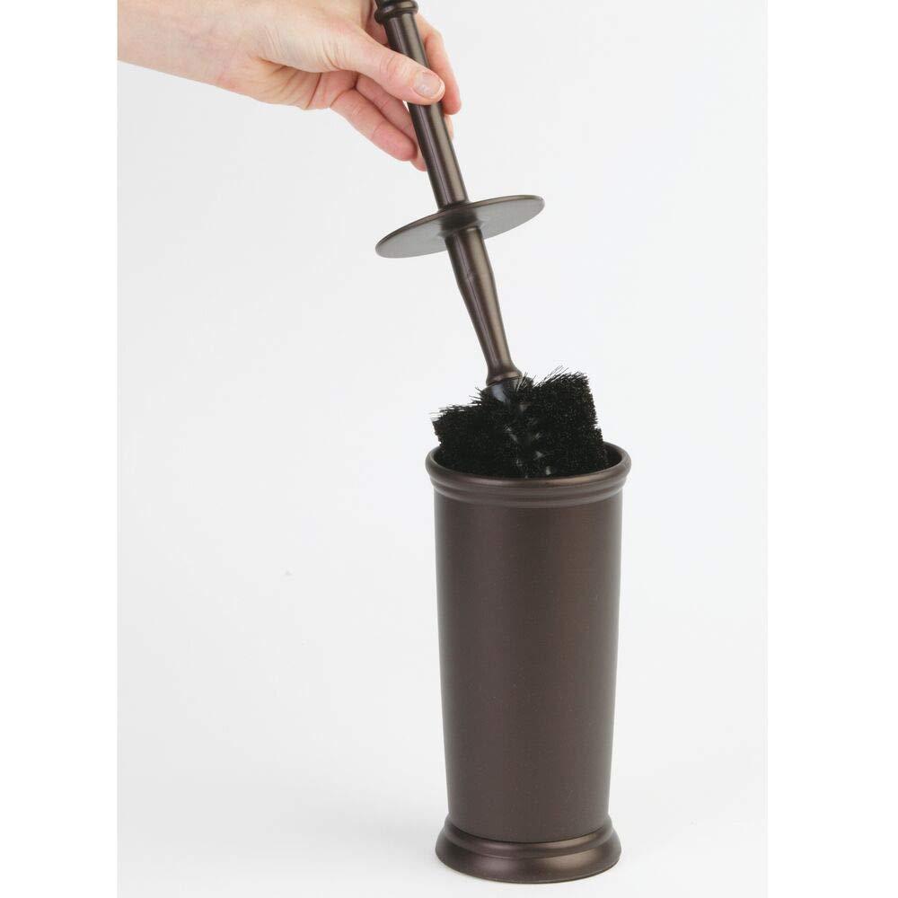 Portaescobilla de alta calidad fabricado en pl/ástico duradero mDesign Escobilleros Moderna escobilla de ba/ño gris