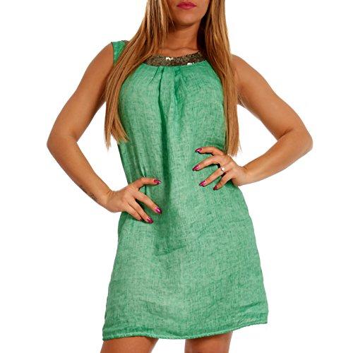 Kragen Sommerkleid Leinen am Tunika mit Effekt Damen Minikleid Italy Grün Made Pailletendetails Melange und qTPwBB