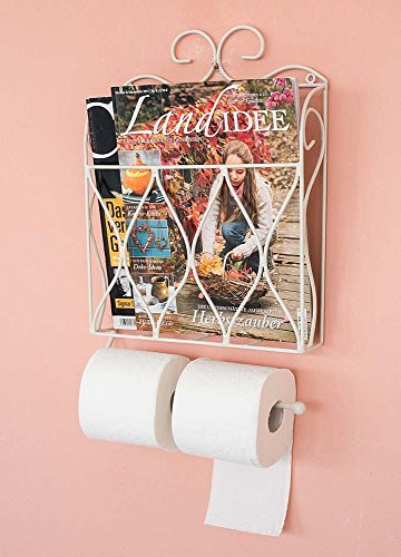 Zeitungs- Toilettenpapierhalter Weiß Toilettenrollenhalter Zeitungsständer