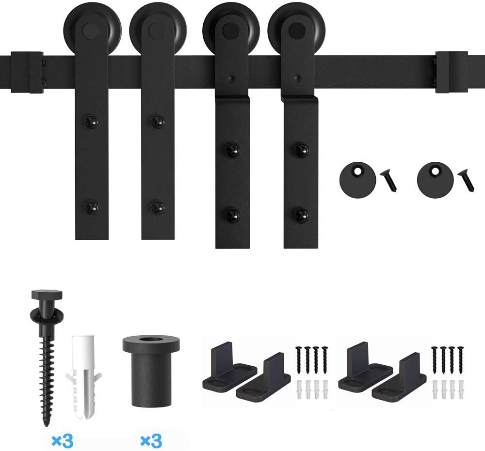 ZEKOO 4 FT- 12 FT Bypass Sliding Barn Door Hardware Kit 5FT Single Track Bypass Flat Track Roller Double Wooden Doors Use Single Track One-Piece Rail Low Ceiling
