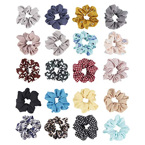20 Pack Soft Chiffon Scrunchies for Hair Bobbie Ties Satin Fabric Covered Scrunchy Elastic Hair Bands Ponytail Holder Bows Variety Accessories for Women Girl