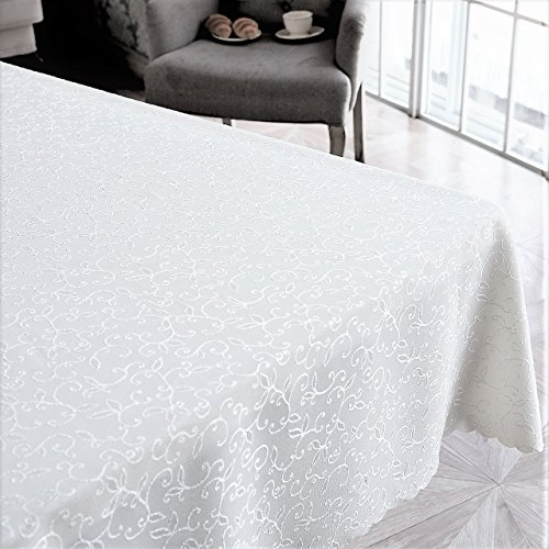 Stain Resistant Turkish White Tablecloth Polyester Table Linen, Rectangle, Square, Round, Washes Easily, Non Iron - Thanksgiving, Christmas, Dinner, Wedding, Easter (WHITE, Square 60