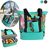 Gaodear Mesh Tote Bag 2 In 1 Beach Bag with Zipper Top and Insulated Picnic Cooler Bottom (Green)