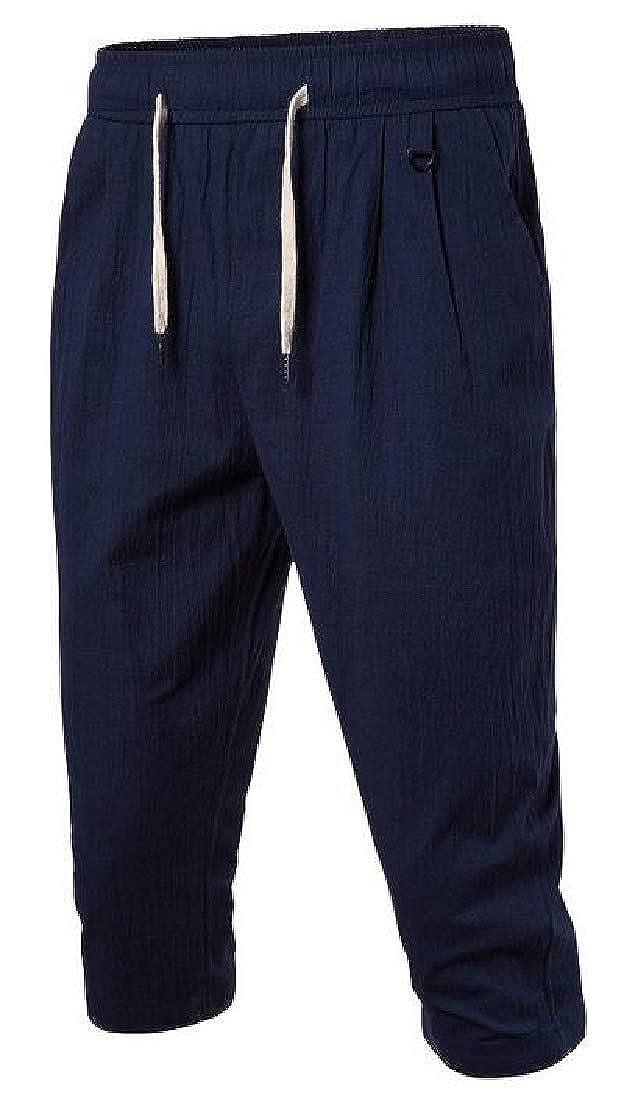 CRYYU Men Casual Cotton Linen Loose Cropped Pants Beach Pants Trousers