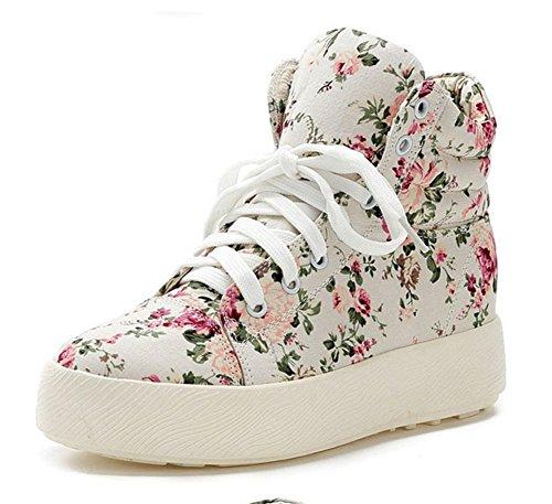 Compensée Blanc Sneakers Baskets Femme Montante Fleur Toile Wealsex w7EZOqUx7