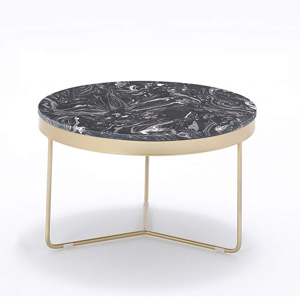 Lcxliga Nesting Coffee Table W/Satin Gold Trim for Home Living Room Small Apartment Or Villa (Size : M(80cm)) by Lcxligang