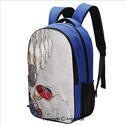 (Classical Basic Travel Backpack For School Bowling Shoes Pins and Ball Artistic Grunge Style for School and Travel,Light Grey Red Dark Blue)