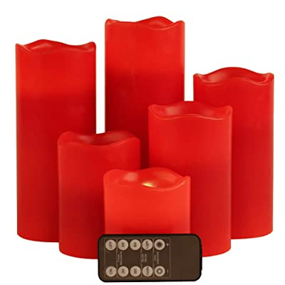 "Red Flameless LED Votive Candle Lights,Set of 6 (D3 x H 3""/4""/5""/6""/7""/8"") Realistic Flickering Electric Candles Battery Operated, Real Wax Moving Wick LED Pillar Candle Sets with Remote Control Timer: Home Improvement"