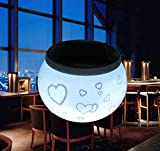 Creative Glass Push-Button European Table Lamp Romantic Led Solar Rechargeable Desk Lamp Heart-Shaped Bedroom Bedside Night Light Bar Restaurant Atmosphere Table Lamp (100 70Mm)
