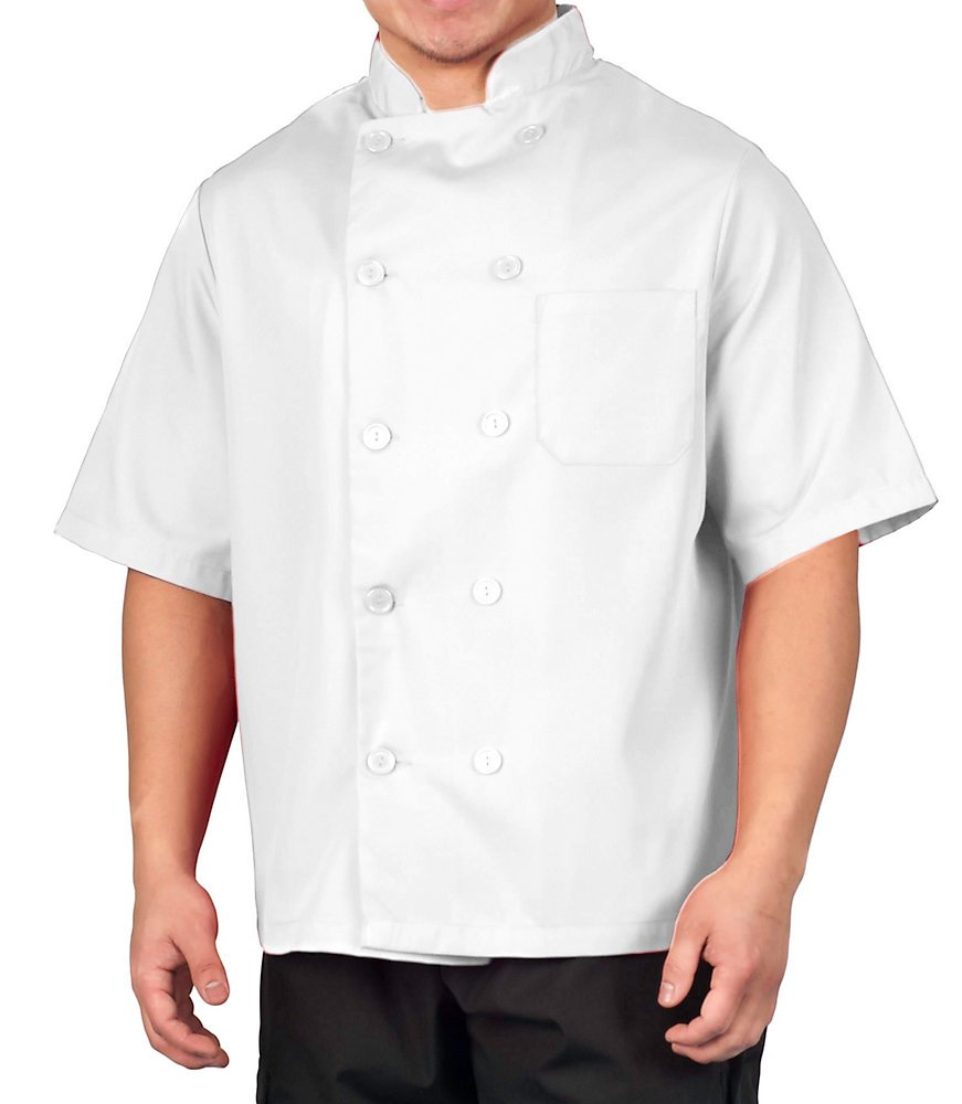KNG White Lightweight Short Sleeve Chef Coat, M by KNG