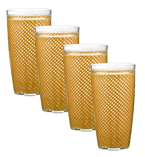 Kraftware The The Fishnet Collection Golden Doublewall Drinkware, Set of 4, 22 oz, Gold ()