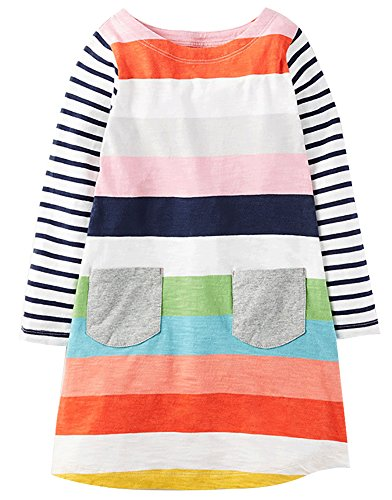 Fiream Toddler Girls Cotton Longsleeve Casual Dresses Applique
